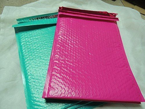 30 -10x15 Hot Pink & Teal Poly Bubble Mailers by wrappingmeup