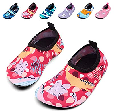 Giotto Kids Swim Water Shoes Quick Dry Non-Slip for Boys & Girls, G015D-Pink, 24-25