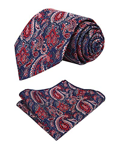 Alizeal Mens Paisley Necktie and Handkerchief Set, Navy+Wine Red