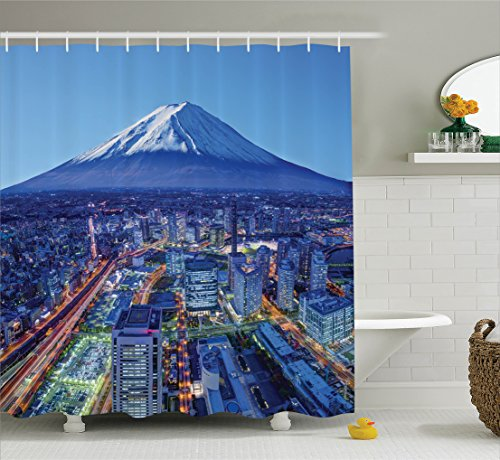 Ambesonne Wanderlust Decor Collection, Skyline Of Mt. Fuji and Yokohama Japan Financial District Mountain Volcano Picture Print, Polyester Fabric Bathroom Shower Curtain, 84 Inches Extra Long, (Mt Fuji Wave)