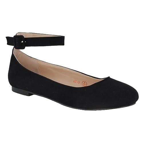 39813049d47c3 ESSEX GLAM Womens Flat Ankle Strap Pumps Bridal Ballerina Close Toe Shoes