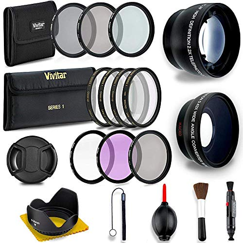 58MM Professional Lens & Filter Bundle - Complete DSLR/SLR Compact Camera Accessory Kit - Lenses (Telephoto, Wide Angle), Filters (Macro, ND, UV, CPL, FLD), Cleaning Tools + More - Camera Angle Compact Lens Wide