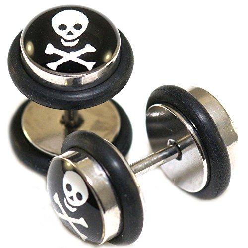 Fake Cheater Faux Illusion Ear Plugs 16G Look 0G 8mm Skull & Cross (Bone Plug Cross)