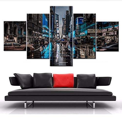(Yyjyxd Decor Living Room Wall Art Framed Modern Hd Prints City Street Car Night Scene Paintings Artworks Poster Modular Pictures Canvas,4X6/8/10Inch,Without)