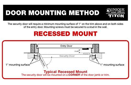 Titan 36x80 Meshtec Ultimate Security Storm Door | Aluminum Full View with  Meshtec Advanced Screen & Glass| Recessed Mount | Left hand | 3pt lock