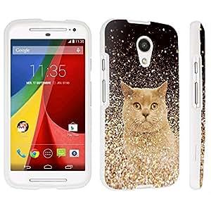 DuroCase ? Motorola Moto G 2nd Gen. 2014 Hard Case White - (Gold Glitter Cat)