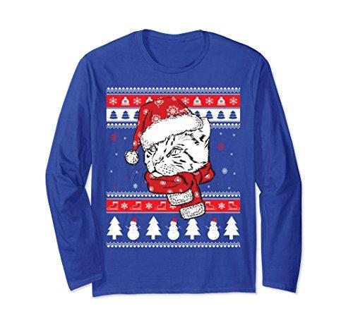 Unisex Funny Christmas Bengal Cat Long Sleeve T-Shirt Cute Cat Gift Small Royal Blue