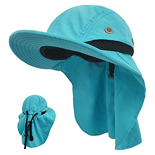 LETHMIK Kids Outdoor Sun Hat,Waterproof UV Protection Hiking Cap for Children Adjustable Hunting Fishing Hat with Neck Flap Blue
