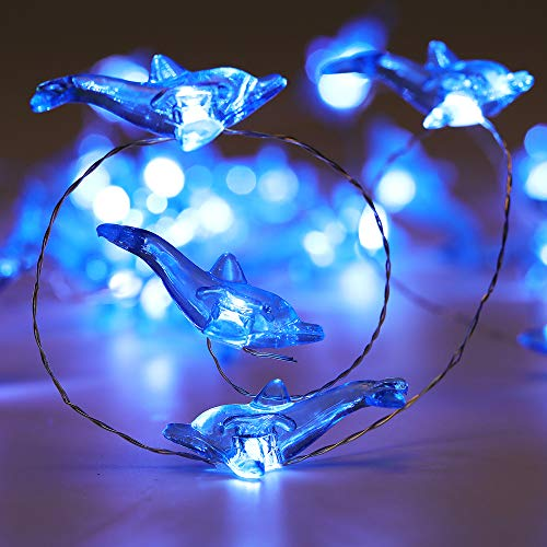 - WSgift Crystal Dolphin Decorative String Lights, 18.7 Ft 40 LED USB Plug-in Silver Copper Wire Beach Theme Fairy Lights for Indoor Outdoor Decoration Projects (Cool White, Remote Control with Timer)