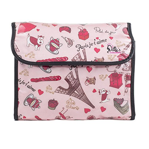 Dilly's Collections - Pink Cosmetic Bag - Paris Je taime Design - Multi Purpose - Hand washable - PVC Coated - Zip closure - Large Hanging Makeup Bag Cosmetic Pouch for Travel or Bathroom Storage
