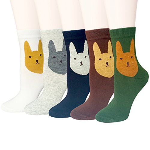 5 Pairs Womens Colorful Cute Animal Girls Cotton Casual Crew Socks by Chalier