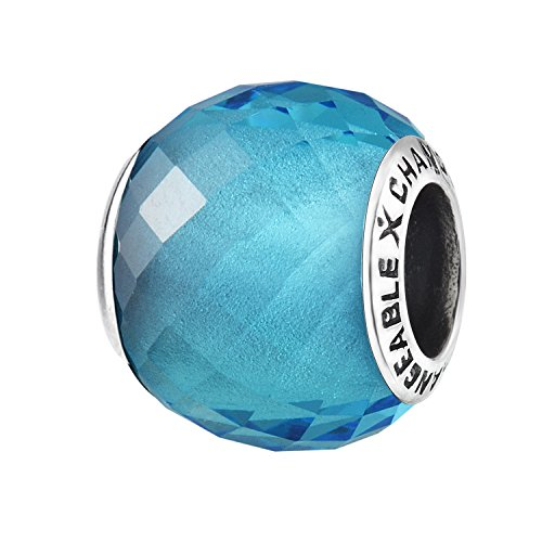 - Murano Glass Charms Beads for Bracelets, Aqua Blue, 925 Sterling Silver (Small Birthstone Stone)