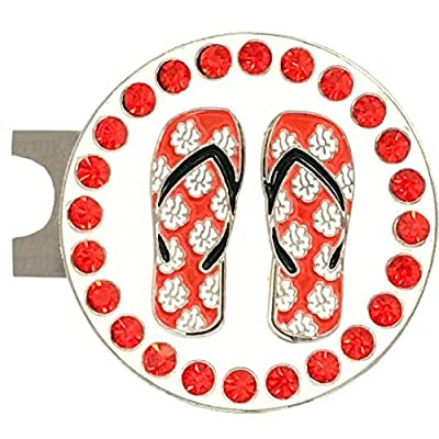 Giggle Golf Bling Red Flip Flops Golf Ball Marker With A Standard Hat Clip