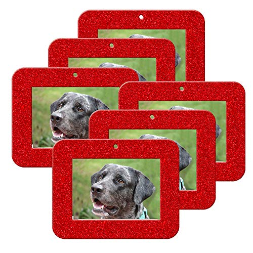 Mini Magnetic Glitter Christmas Photo Ornaments - 6-Pack, Horizontal - Red