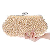 FstFshion Womens Faux Pearl Clutches Handbag Beaded Crystal Evening Bags Purse