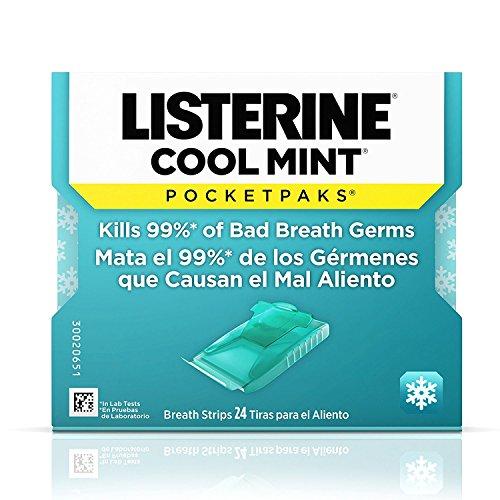 Listerine Cool Mint Pocketpaks Breath Strips Kills Bad Breath Germs, 24-Strip Pack (12 Pack)