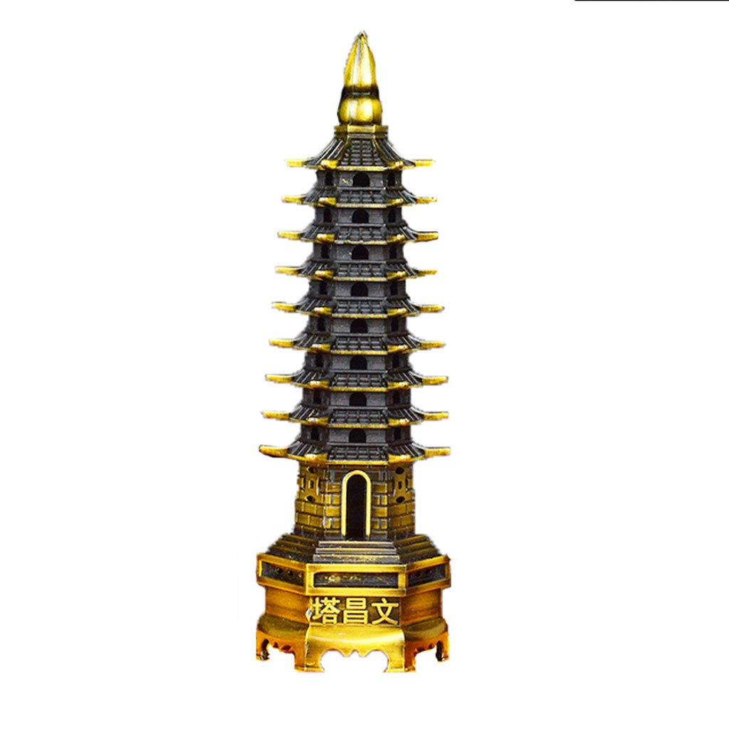 YELLOW Crafts Home Decorations Indoor Office Study Decorations Pure Copper Pagoda Tower Artwork (color   Yellow)