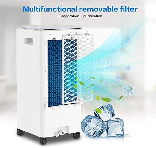 Refroidisseur d'air Mobile, 4 en 1 Climatiseur Portable Ventilateur Purificateur Humidificateur avec avec Roues et Réservoir d'eau 5L, 3 Modes,3 Vitesses, Télécommande, Minuterie(Blanc)