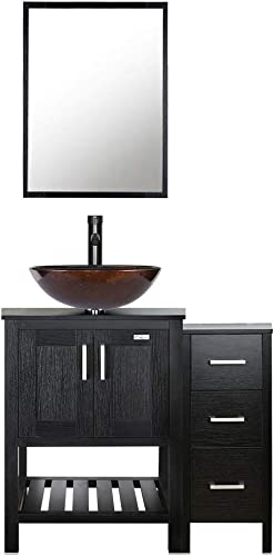 eclife 36 Bathroom Vanity Sink Combo Black W/Small Side Cabinet Round Tempered Glass Vessel Sink 1.5 GPM Water Save Faucet Solid Brass Pop Up Drain