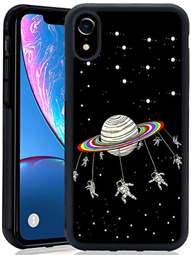 - iPhone Xr Case with Astronaut Space Pattern Whimsical Design Bumper Black Soft TPU and PC Protection Anti-Slippery &Fingerprint Case for iPhone Xr
