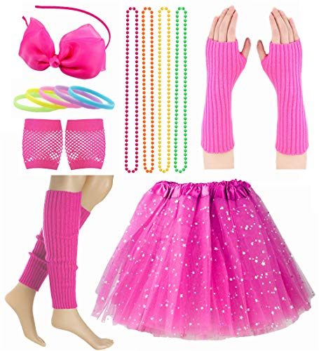 Child Girl 80's Accessories Set Tutu Skirt with Neon Bracelet Necklace Set (Style 2-Hot Pink)]()