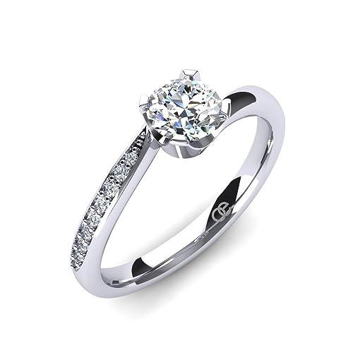 59777f14a858a0 Anello di Fidanzamento in Argento con Zirconia + Argento 925 finissimo +  Anelli di Fidanzamento da