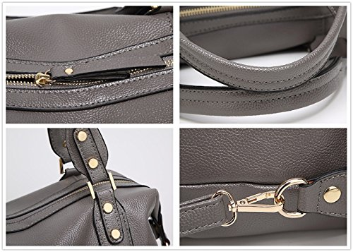 Roomy Handbag Pebbled Bag PU Gray Women Barrel Fashion Satchel Shoulder Spacious Mn amp;Sue Leather xwqUzvqR