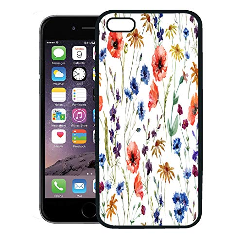 Semtomn Phone Case for iPhone 8 Plus case,Pattern Wildflowers Watercolor Poppy Cornflower Chamomile Floral Damask iPhone 7 Plus case Cover,Black