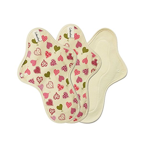/ Cloth Menstrual Pads Heavy Flow / Reusable Cotton Cloth Mama Pads / Cloth Incontinence Pads / Cloth Pad Set - 3 Heavy flow pads (3 Large pads) (Pink Heart) (Cotton Cloth Menstrual Night Pad)