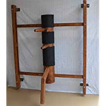 Wing Chun Mind Amber Color Wall Mounted Adjustable Wooden Dummy
