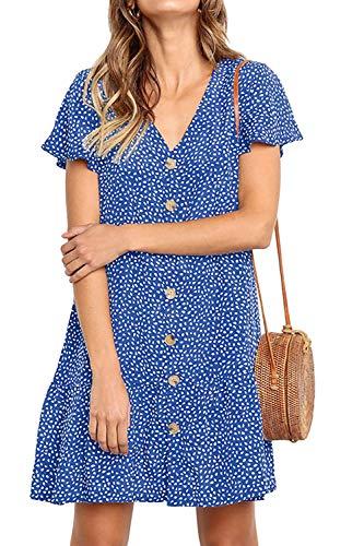 - NICIAS Women's Short Sleeve V Neck Button Down Ruffles Casual Tunic Dress Loose Swing T-Shirt Mini Dresses Light Blue XXL