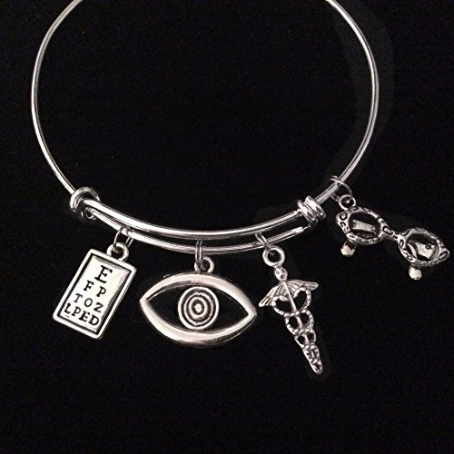 Optometrist Eye Doctor Silver Expandable Charm Bracelet Adjustable Bangle Trendy Gift Eye Chart, Caduceus, Eye - Fashion 2015 Eyeglasses