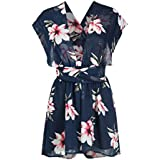 Choies Women's Different Style Cross/Halter Straps Jumpsuit Romper,Floral Beach Rompers XL