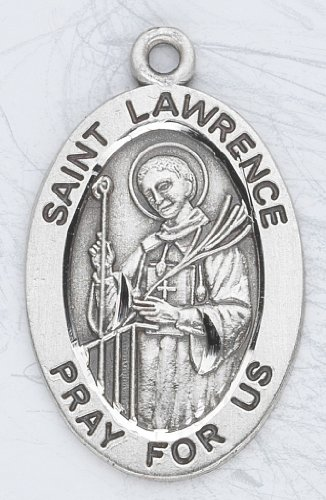 Sterling Silver Oval Medal Necklace Patron Saint St. Lawrence with 20