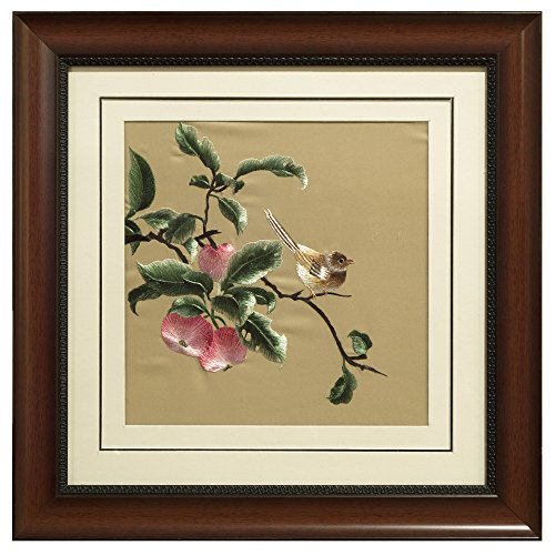 China Furniture Online Framed Silk Embroidery, Bird and Peaches Motif Pink and Brown by ChinaFurnitureOnline