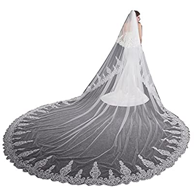 EllieHouse Women's 2 Tier Cathedral Ivory Wedding Bridal Veil With Free Comb L05A