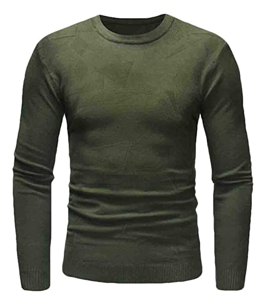 c112db4607 Rrive Men Long Sleeve Round Neck Casual Plain Pullover Sweater Army Green L