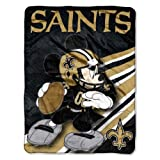 """Officially Licensed NFL New Orleans Saints Disney's Mickey CoBranded Micro Raschel Throw Blanket, 46"""" x 60"""""""
