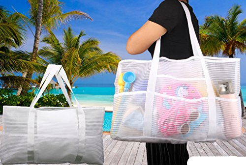 Cheap Mesh X-Large Tank Beach Bag,White Reusable Shopping Bag,Grocery Picnic Pool
