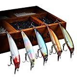 Cheap NF·F Top Water Minnow Long Casting Flashing Fluorescence Saltwater Freshwater Bass fishing Lure, Luminous Lure. (five colors in one set) 14g (Red,Blue,Pink,Grey,Orange)