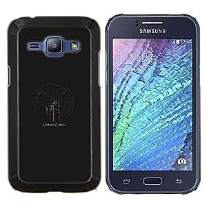 Tronos Serie- Metal de aluminio y de plástico duro Caja del teléfono - Negro - Samsung Galaxy J1 / J100