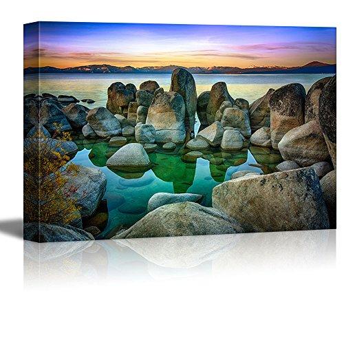 Canvas Prints Wall Art – Rocks in a Lake, Lake Tahoe, Sierra Nevada, California, USA – 32 x 48