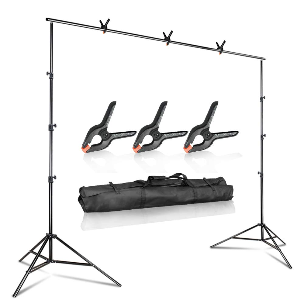 Julius Studio 10 ft. Wide Adjustable Background Muslin Support Structure System Stand and Cross Bar for Screen Backdrop with 3 Pack of Support Clamp, Stable Thick Pole, Photography Studio, JSAG242V2 by Julius Studio