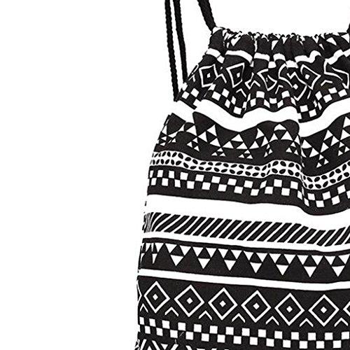 Femme Rétro Dos Main Ethnique Sac Noir Bovake De À Toile En Style Géométrique 8wqZ8H
