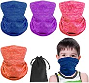 4 Pcs Kids Balaclava Neck Gaiter Masks Filter Adjustable Toddler Half Neck Protective Shield-Cover Gifts For C