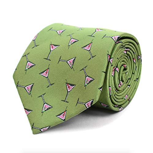 Parquet Men's Novelty Fashion Neckties with Gift Box - Cocktails (Multiple Patterns to Select From) (Martini Glasses - ()