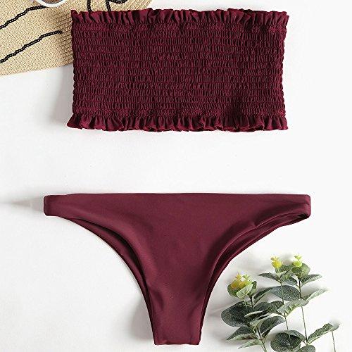 Zaful Bagno Retr Pieghettato Costume Bikini Da Sexy Donna rwnzxRf6r