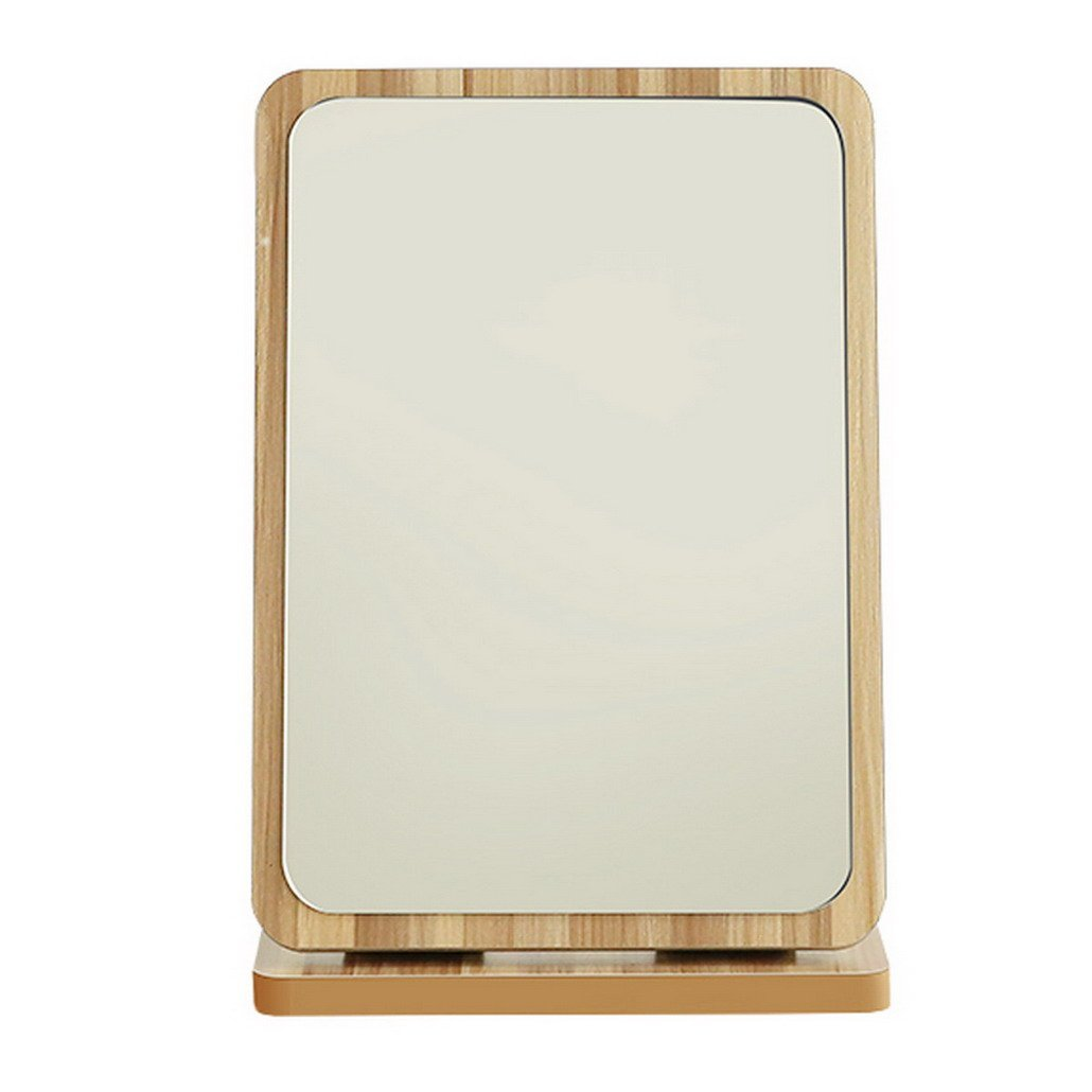 Restbuy Makeup Mirror Table Mirror Standing Mirror with Wood Frame and Floor Mirror for Makeup Shaving Light Brown 19 x 28 cm
