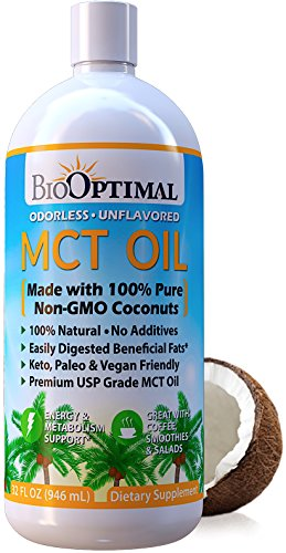 BioOptimal MCT Oil 32 oz - Keto MCT Oil, 100% Coconut, C8 & C10, Non-GMO, Premium Quality, Unflavored & Odorless, No Palm Oil, Paleo & Vegan Friendly