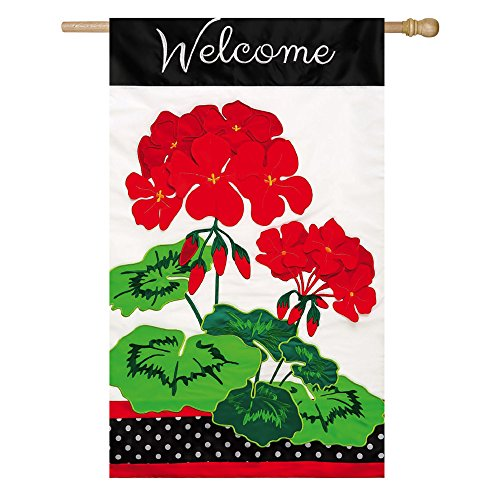 Evergreen Applique Welcome Geraniums House Flag, 29 x 44 inches For Sale